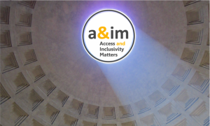 image shows ceiling of Pantheon with Access and Inclusivity Matters logo in the oculus